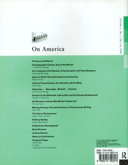 Back cover of Performance Research: Volume 3 Issue 1 - On America