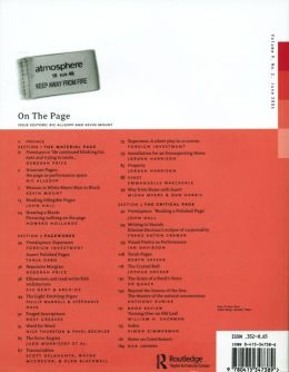 Back cover of Performance Research: Volume 9 Issue 2 - On the Page