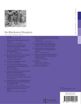 Back cover of Performance Research: Volume 12 Issue 3 - On Blackness/Diaspora