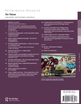Back cover of Performance Research: Volume 18 Issue 2 - On Value