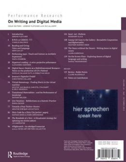 Back cover of Performance Research: Volume 18 Issue 5 - On Writing & Digital Media