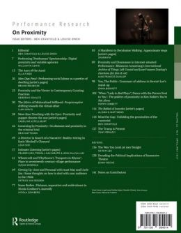 Back cover of Performance Research: Volume 22 Issue 3 - On Proximity