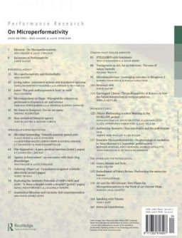 Back cover of Performance Research: Volume 25 Issue 3 - On Microperformativity